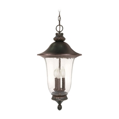 Outdoor Hanging Light with Clear Glass in Old Penny Bronze Finish