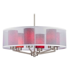 Organza Drum Pendant Light Satin Nickel with Red Art Glass 6-Light