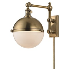 Stanley 1 Light Swing Arm Lamp - Aged Brass
