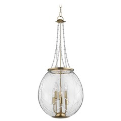 Hudson Valley Lighting Pierce Aged Brass Pendant Light with Bowl / Dome Shade