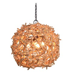 Kenroy Home Thistle Oil Rubbed Bronze with Natural Wood Pendant Light with Globe Shade