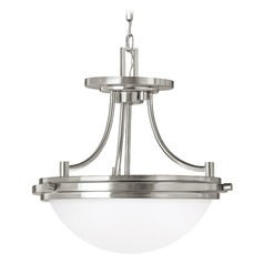Sea Gull Lighting Winnetka Brushed Nickel LED Pendant Light with Bowl / Dome Shade