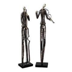 Modern Sculpture in Matte Black Finish