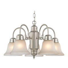 Mini-Chandelier with Caramel Glass in Satin Nickel Finish