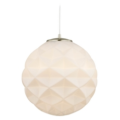 Modern Hanging Globe Pendant Light with White Textured Glass
