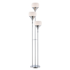 Modern Floor Lamp with White Glass in Polished Chrome Finish