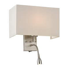 Modern Switched Sconce Wall Light with White Shade in Brushed Nickel Finish