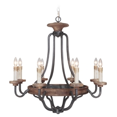 Craftmade Ashwood Textured Black / Whiskey Barrel Chandelier