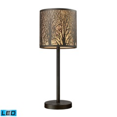 Dimond Lighting Aged Bronze LED Table Lamp with Cylindrical Shade