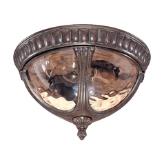 Close To Ceiling Light with Amber Glass in Fruitwood Finish