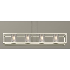 Seeded Glass Linear Chandelier Satin Nickel 4 Lt