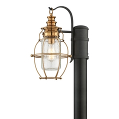 Post Light with Clear Cage Shade in Aged Brass / Forged Black Finish