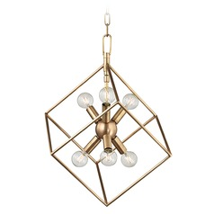 Industrial Pendant Light Brass Roundout by Hudson Valley Lighting