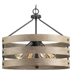 Gulliver Graphite Pendant Light with Drum Shade by Progress Lighting