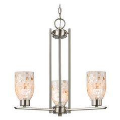 3-Light Mini Chandelier with Mosaic Glass in Satin Nickel