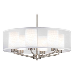 Organza Drum Pendant Light Satin Nickel with White Art Glass 6-Light