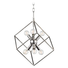 Industrial Pendant Light Polished Nickel Roundout by Hudson Valley Lighting