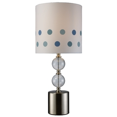Modern Table Lamp with White Shade in Chrome and Clear Glass Finish