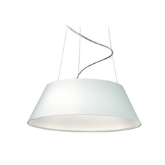 Modern LED Drum Pendant Light in White Finish