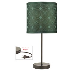 Bronze Table Lamp with Green Patterned Drum Shade