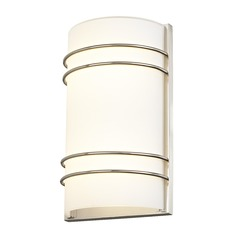 LED Sconce Modern White Glass with Satin Nickel Bands