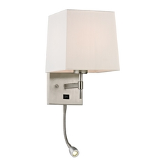 Modern LED Switched Sconce Wall Light with White Shade in Brushed Nickel Finish