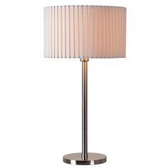Kenroy Home Grace Brushed Steel Table Lamp with Drum Shade