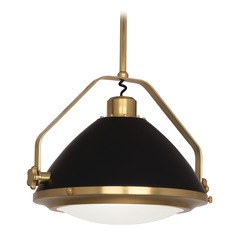 Mid-Century Modern Pendant Light Brass / Black Painted Apollo by Robert Abbey