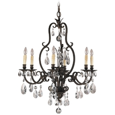 Feiss 6-Light Crystal Chandelier in Aged Tortoise Shell