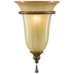 Sconce Wall Light with Art Glass in Firenze Silver Finish