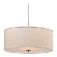 Modern Chrome Pendant Light with Cream Drum Shade