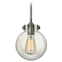 Mini-Pendant Vintage Light with Clear Hand Blown Glass Globe