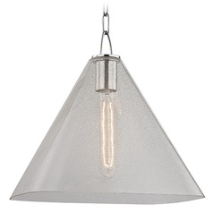 Sanderson 1 Light Pendant Light Square Shade - Polished Nickel