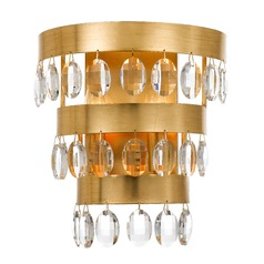 Crystorama Lighting Perla Antique Gold Sconce