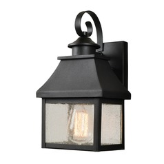 Seeded Glass Outdoor Wall Light Black with Gold Highlights Kenroy Home Lighting