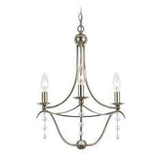 Crystal Mini-Chandelier in Antique Silver Finish