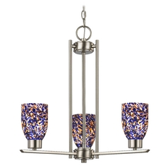 Chandelier with Blue Art Glass in Satin Nickel Finish - 3-Lights