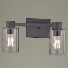 2-Light Seeded Glass Bathroom Light Bronze