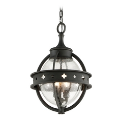 Outdoor Hanging Light with Clear Glass in Forged Black Finish