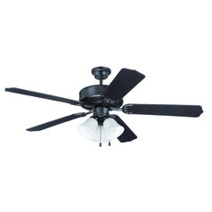 Craftmade Pro Builder 205 Flat Black Ceiling Fan with Light