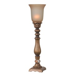 Kenroy Home Turner Gold Table Top Torchiere Lamp with Bell Shade