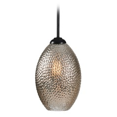 Bronze Mini-Pendant Light Seeded Mercury Glass Kenroy Home