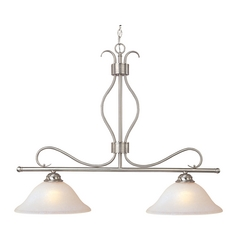 Modern Island Light with White Glass in Satin Nickel Finish