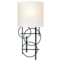 Modern Sconce Wall Light with Beige / Cream Glass in Black Finish