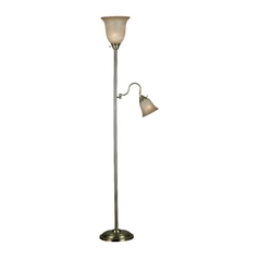 Torchiere Lamp with Beige / Cream Glass in Vintage Brass Finish