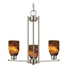 Chandelier with Brown Art Glass in Satin Nickel - 3-Lights