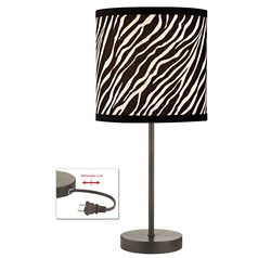 Bronze Table Lamp with Zebra Drum Shade