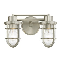 Seeded Glass Bathroom Light Satin Nickel Cage 2 Lt