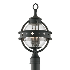 Seeded Glass Post Light Black Troy Lighting