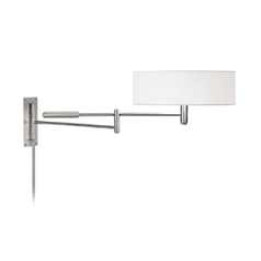 Modern Pin-Up Lamp with White Shade in Polished Nickel Finish